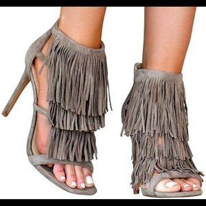 Steve Madden Shoes - Steve Madden Fringly Taupe Suede Sandal